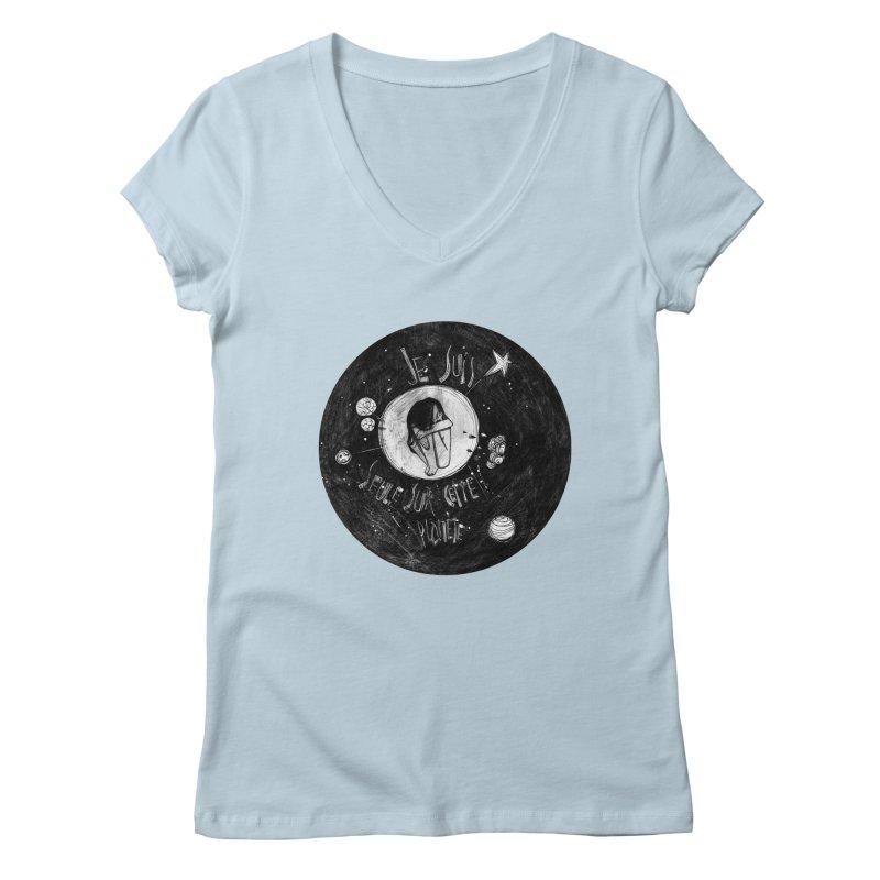 Planète (circle) Women's Regular V-Neck by ilustramar's Artist Shop