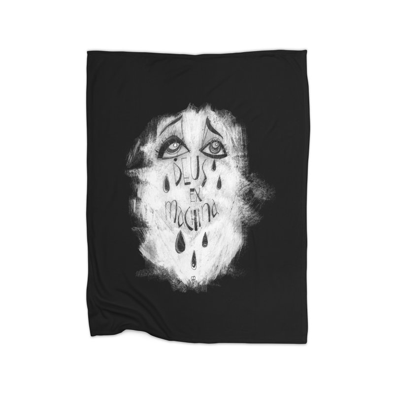 Deus Ex Machina (black) Home Fleece Blanket Blanket by ilustramar's Artist Shop