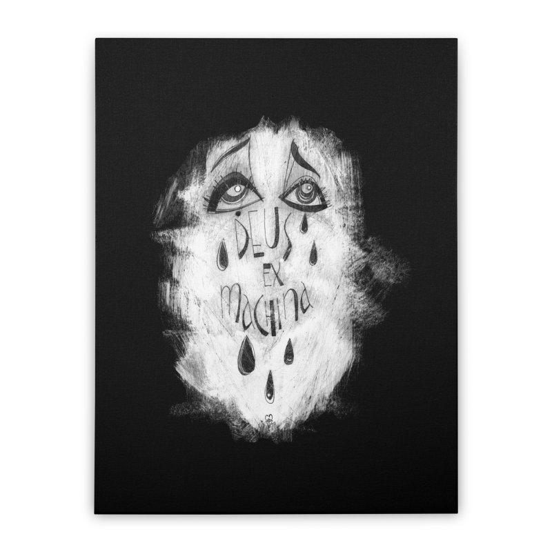 Deus Ex Machina (black) Home Stretched Canvas by ilustramar's Artist Shop