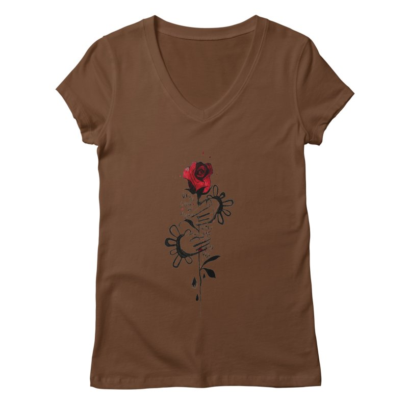 Wild Rose Women's Regular V-Neck by ilustramar's Artist Shop