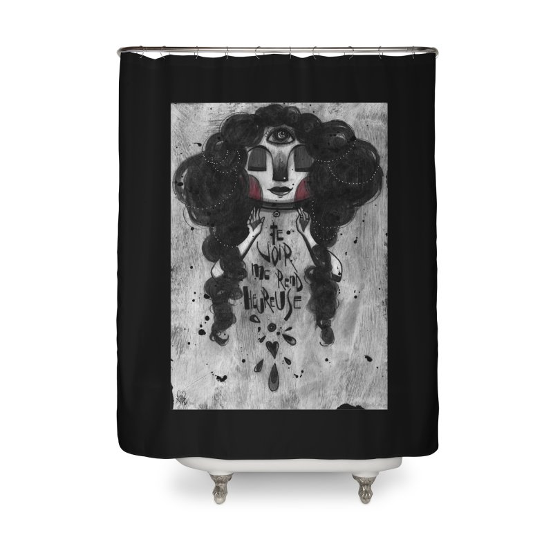 Heureuse Home Shower Curtain by ilustramar's Artist Shop
