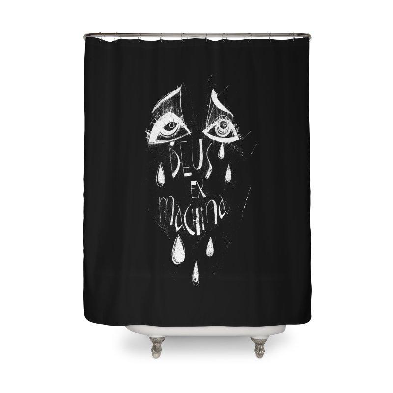 Deus ex Machina (white line) Home Shower Curtain by ilustramar's Artist Shop