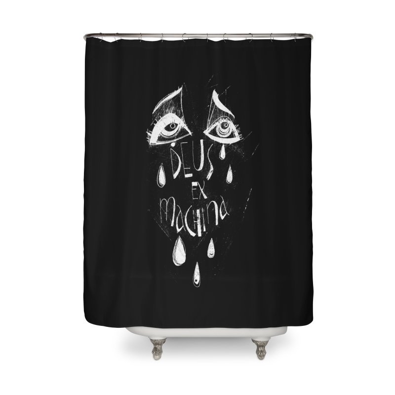 Deus ex Machina (white line) Home Shower Curtain by ilustramar's Artist Shop