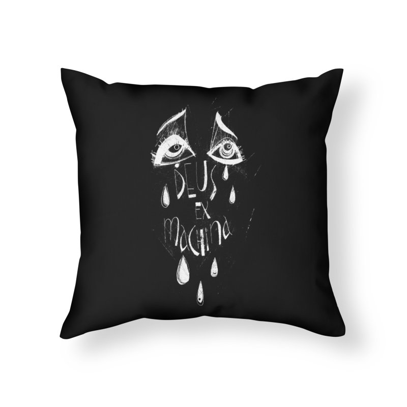 Deus ex Machina (white line) Home Throw Pillow by ilustramar's Artist Shop