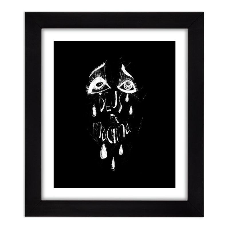 Deus ex Machina (white line) Home Framed Fine Art Print by ilustramar's Artist Shop