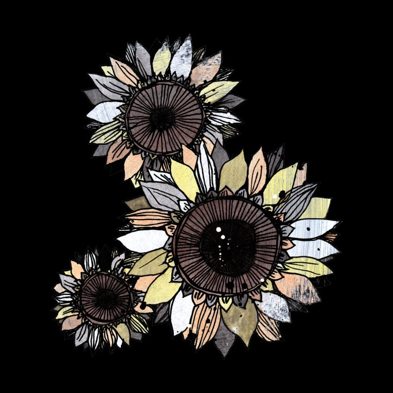 Sunflowers (Black) Home Mounted Aluminum Print by ilustramar's Artist Shop
