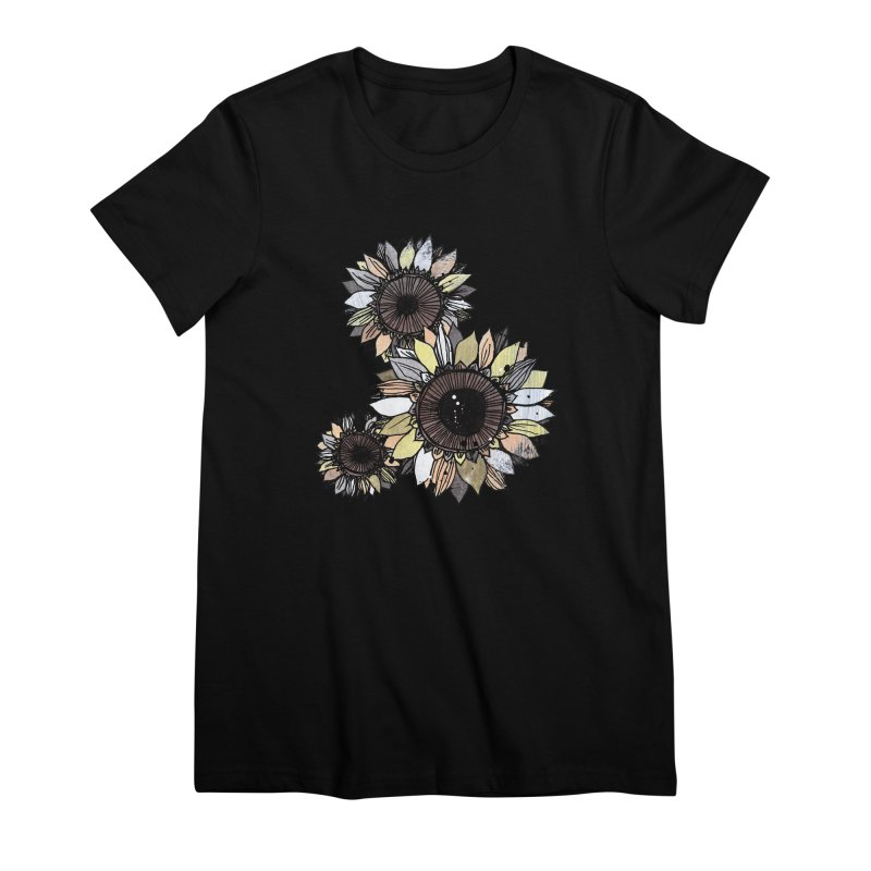 Sunflowers (Black) Women's Premium T-Shirt by ilustramar's Artist Shop