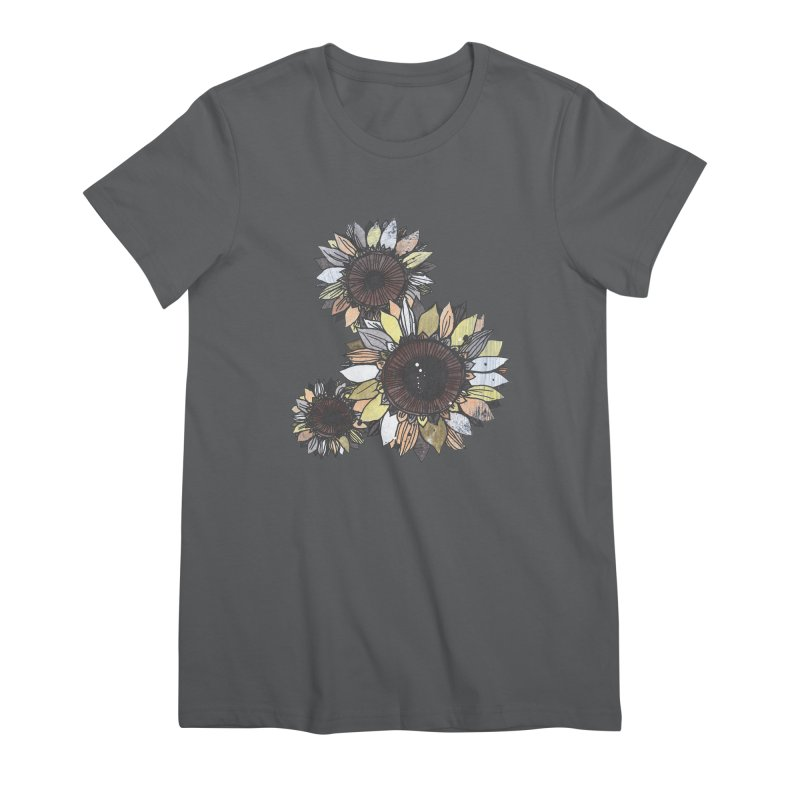 Sunflowers (Black) Women's Premium T-Shirt by ilustramar's Artist Shop