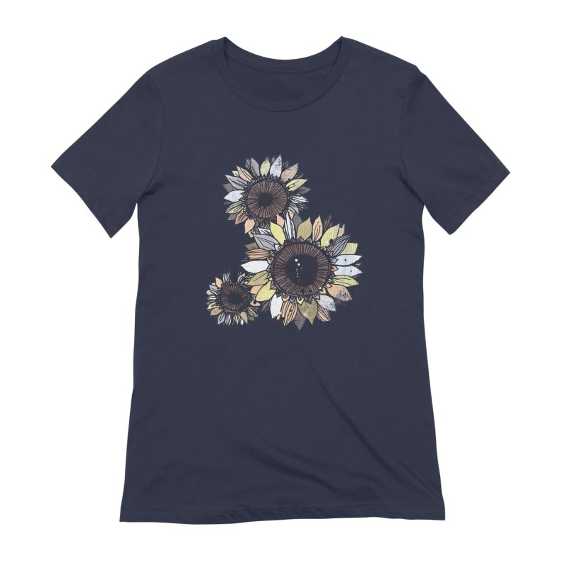 Sunflowers (Black) Women's Extra Soft T-Shirt by ilustramar's Artist Shop