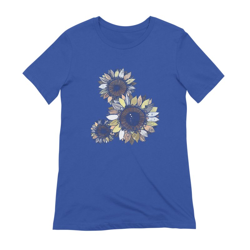 Sunflowers (Black) Women's Extra Soft T-Shirt by ilustramar's Artist Shop