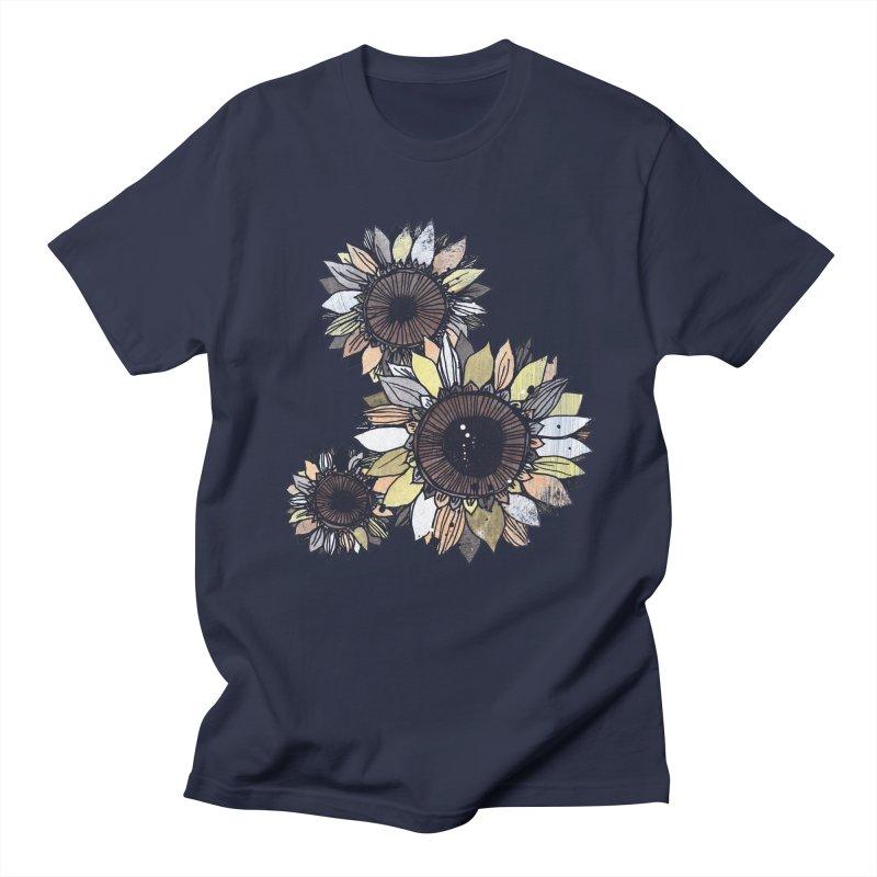 Sunflowers (Black) Men's T-Shirt by ilustramar's Artist Shop