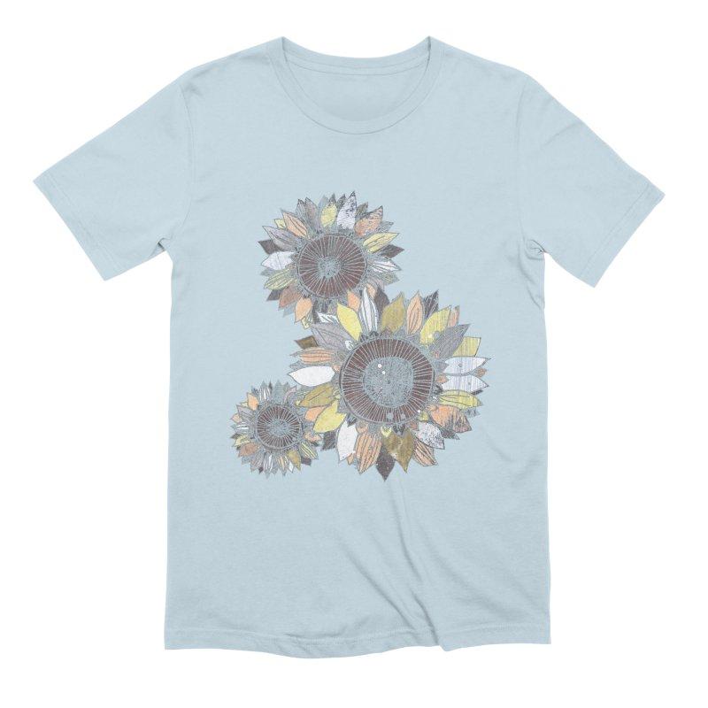 Sunflowers (Black) Men's Extra Soft T-Shirt by ilustramar's Artist Shop