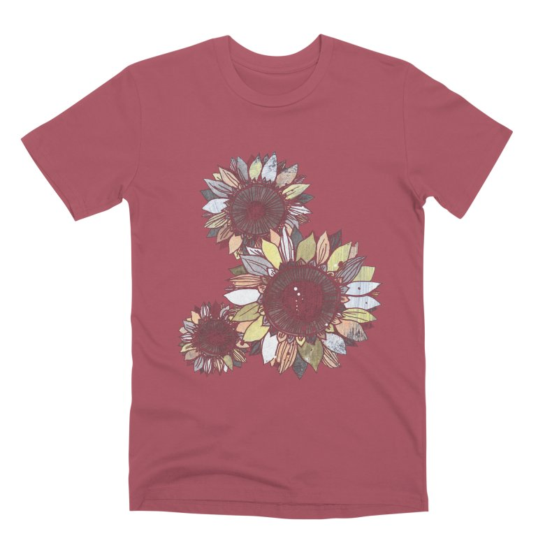Sunflowers (Black) Men's Premium T-Shirt by ilustramar's Artist Shop