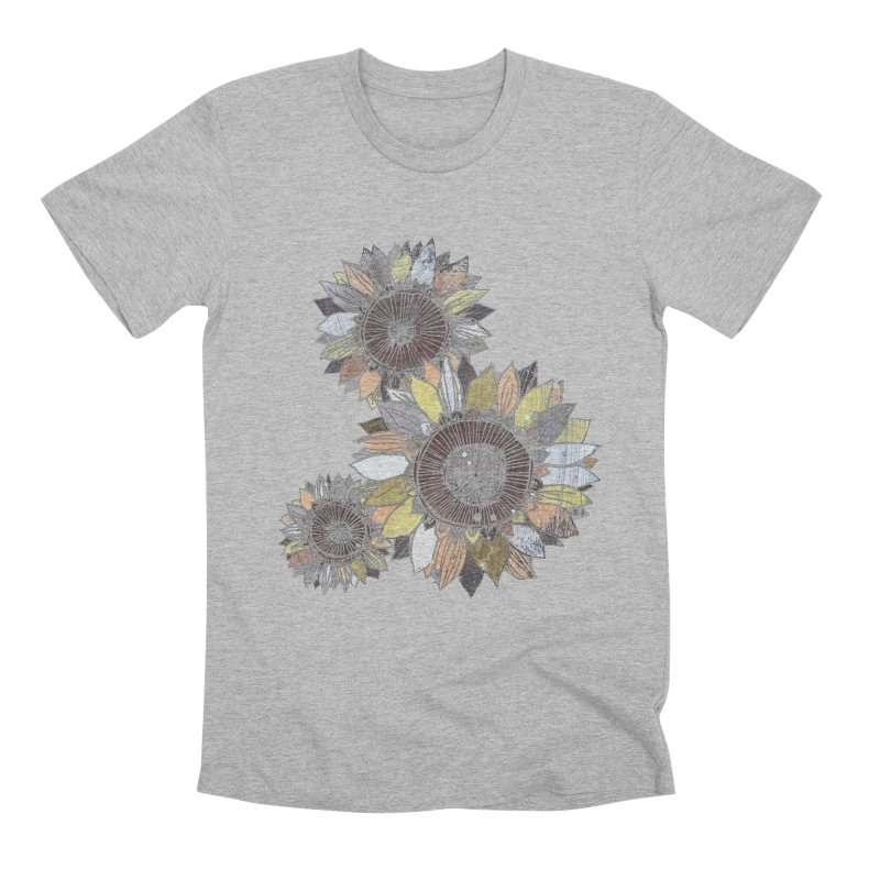 Sunflowers (Black) Men's Premium T-Shirt by ilustramar's Artist Shop
