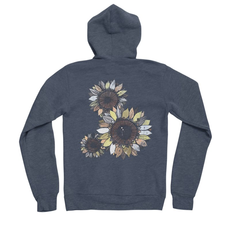 Sunflowers (Black) Men's Sponge Fleece Zip-Up Hoody by ilustramar's Artist Shop