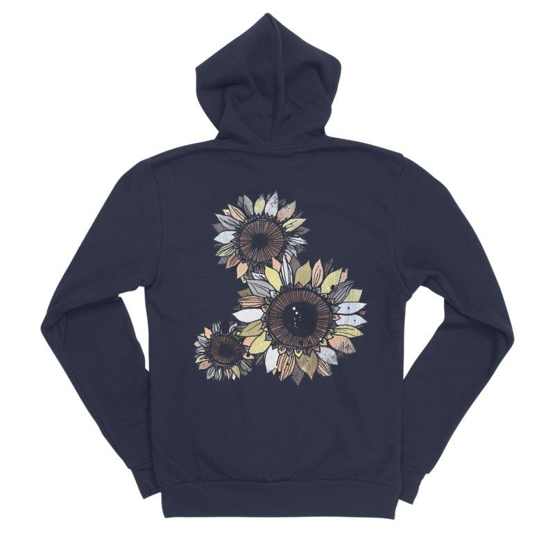 Sunflowers (Black) Women's Sponge Fleece Zip-Up Hoody by ilustramar's Artist Shop