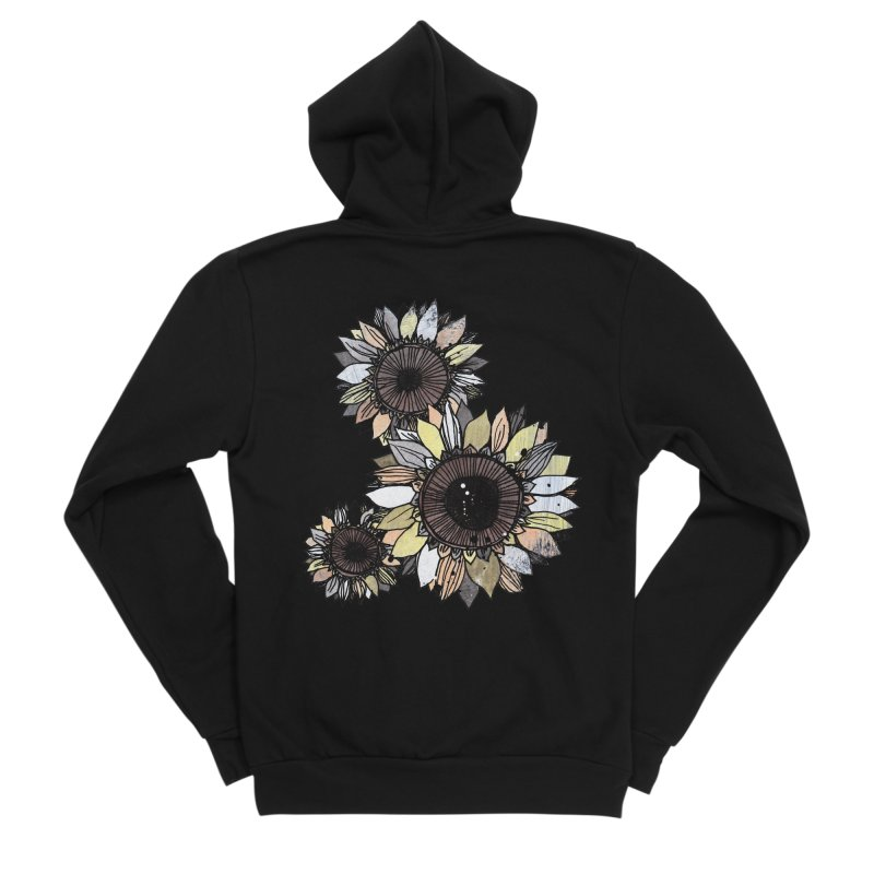Sunflowers (Black) Men's Sponge Fleece Zip-Up Hoody by ilustramar's Artist Shop