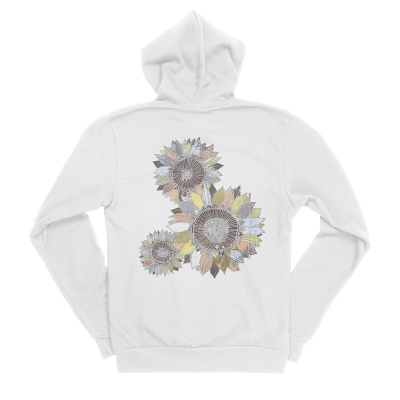 Sunflowers (Black) Women's Sponge Fleece Zip-Up Hoody by ilustramar's Artist Shop