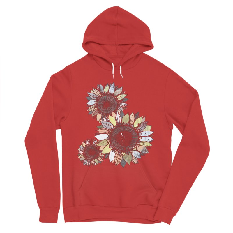 Sunflowers (Black) Men's Sponge Fleece Pullover Hoody by ilustramar's Artist Shop
