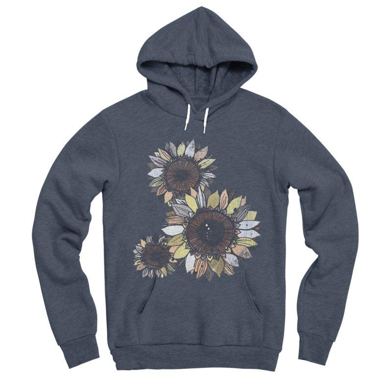 Sunflowers (Black) Men's Sponge Fleece Pullover Hoody by ilustramar's Artist Shop