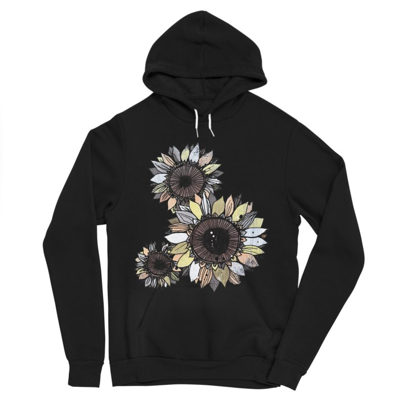 Sunflowers (Black) Women's Sponge Fleece Pullover Hoody by ilustramar's Artist Shop