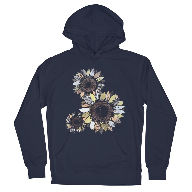 Sunflowers (Black) Men's Pullover Hoody by ilustramar's Artist Shop