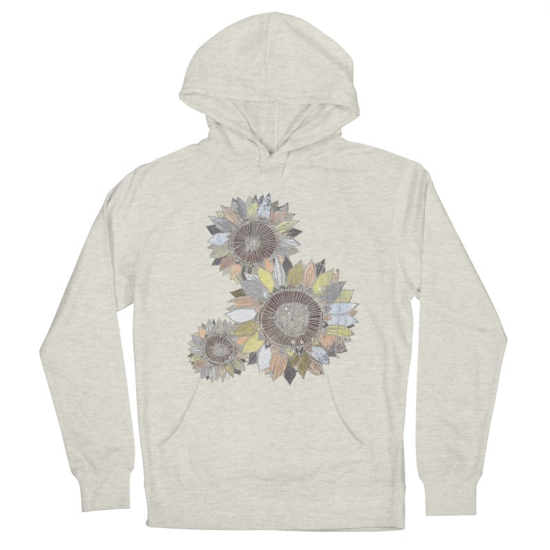 Sunflowers (Black) Men's French Terry Pullover Hoody by ilustramar's Artist Shop