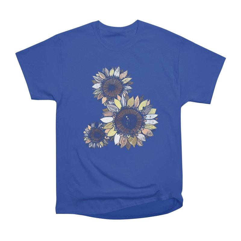 Sunflowers (Black) Women's Heavyweight Unisex T-Shirt by ilustramar's Artist Shop