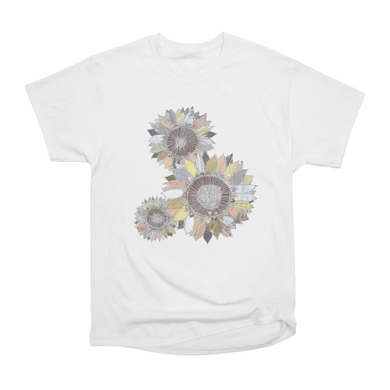 Sunflowers (Black) Men's Heavyweight T-Shirt by ilustramar's Artist Shop
