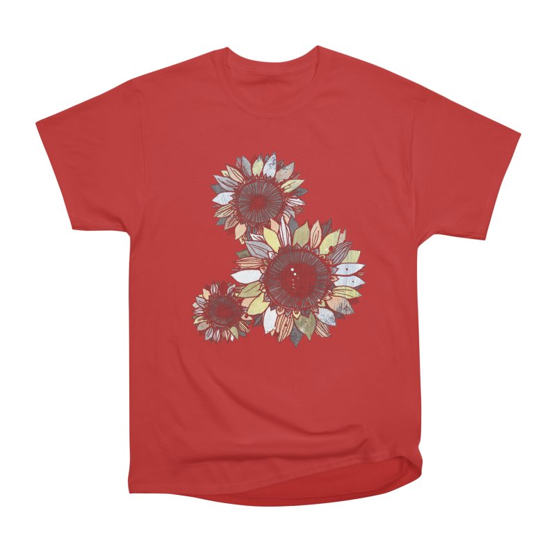 Sunflowers (Black) Women's Heavyweight Unisex T-Shirt by ilustramar's Artist Shop