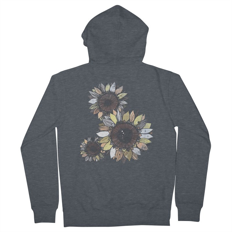Sunflowers (Black) Women's French Terry Zip-Up Hoody by ilustramar's Artist Shop