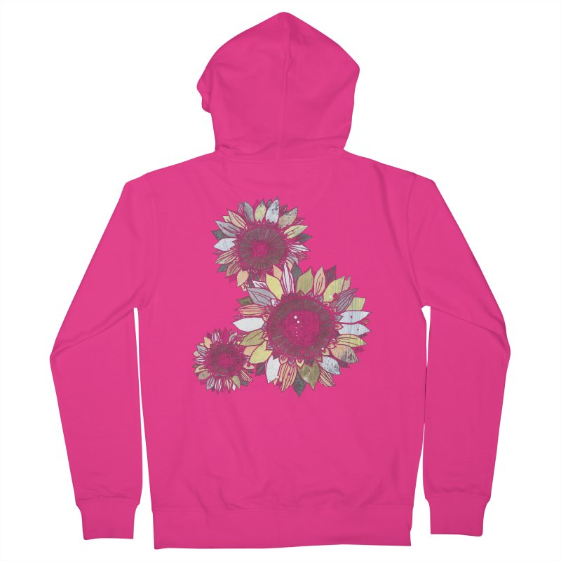 Sunflowers (Black) Men's French Terry Zip-Up Hoody by ilustramar's Artist Shop
