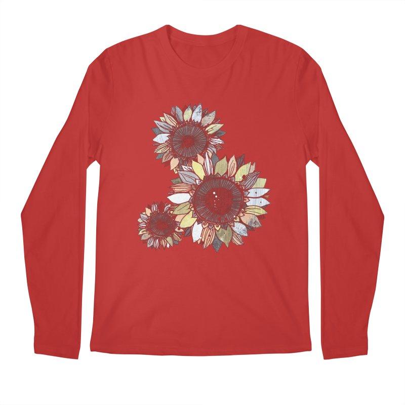 Sunflowers (Black) Men's Regular Longsleeve T-Shirt by ilustramar's Artist Shop