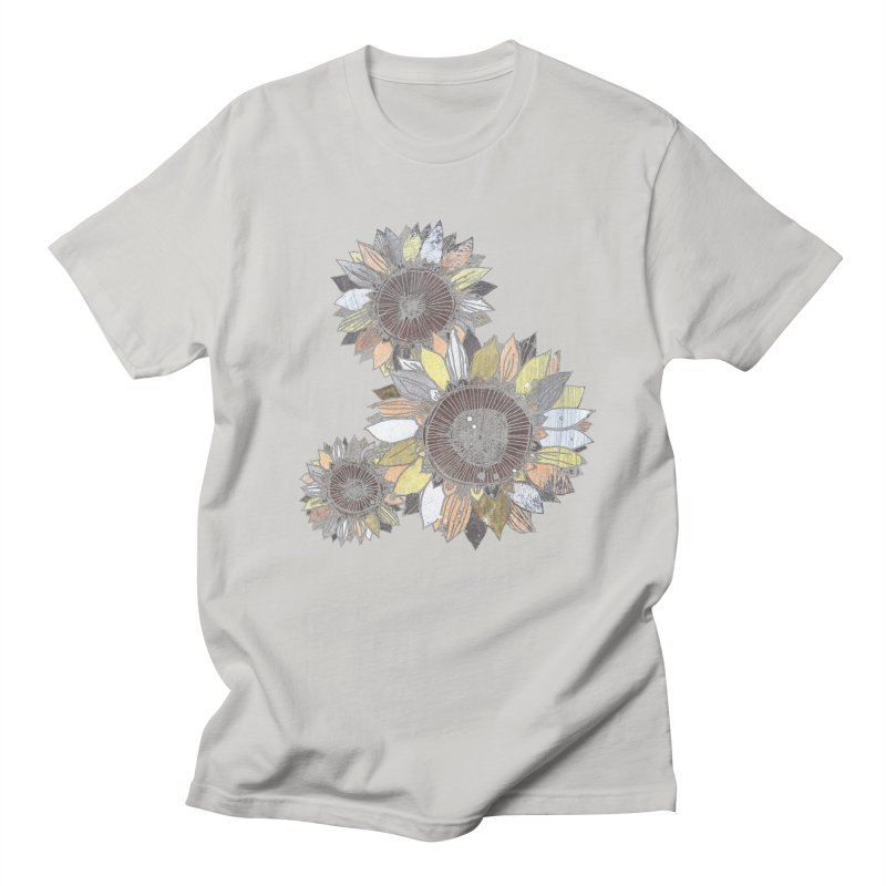 Sunflowers (Black) Men's Regular T-Shirt by ilustramar's Artist Shop