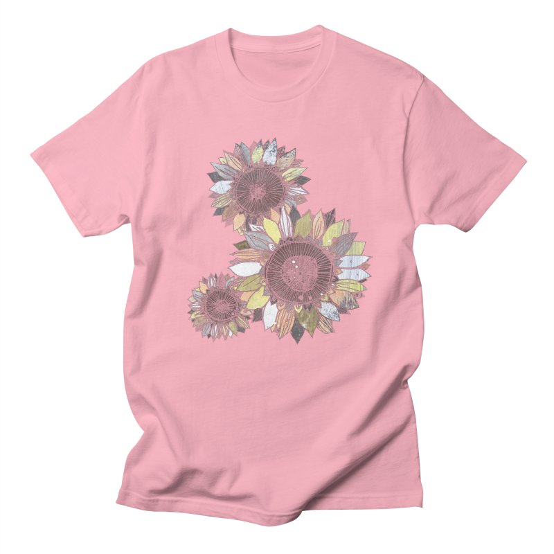 Sunflowers (Black) Women's Regular Unisex T-Shirt by ilustramar's Artist Shop