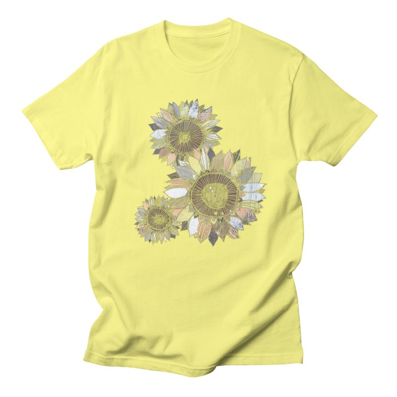 Sunflowers (Black) Women's Regular Unisex T-Shirt by ilustramar's Artist Shop