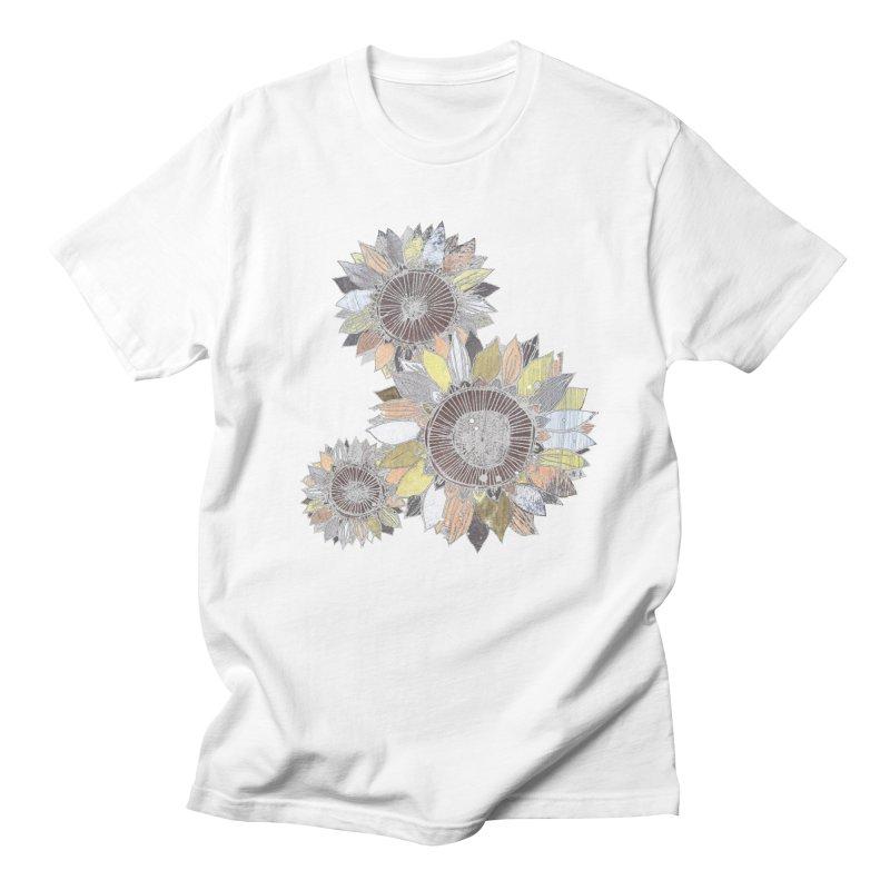 Sunflowers (Black) Men's Regular T-Shirt by ilustramar's Artist Shop