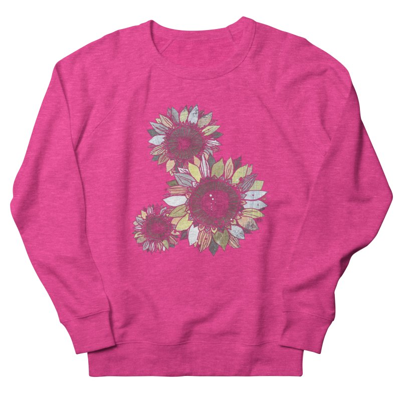Sunflowers (Black) Women's French Terry Sweatshirt by ilustramar's Artist Shop
