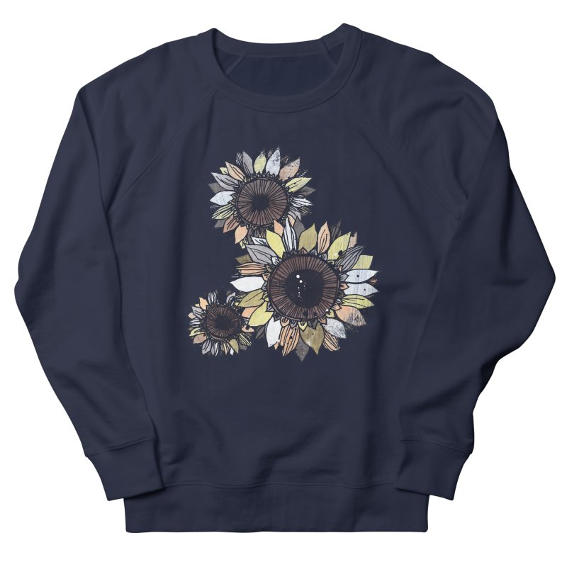 Sunflowers (Black) Men's French Terry Sweatshirt by ilustramar's Artist Shop
