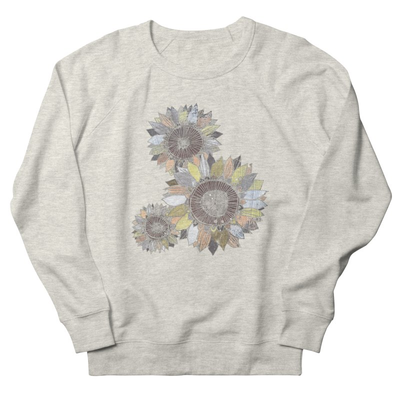Sunflowers (Black) Men's French Terry Sweatshirt by ilustramar's Artist Shop