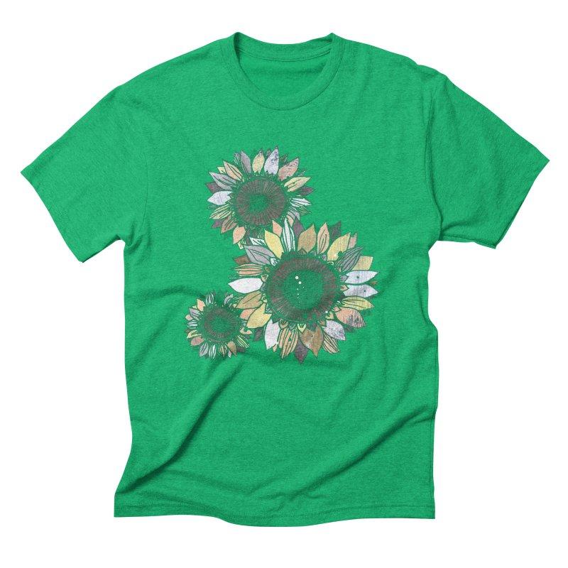Sunflowers (Black) Men's Triblend T-Shirt by ilustramar's Artist Shop