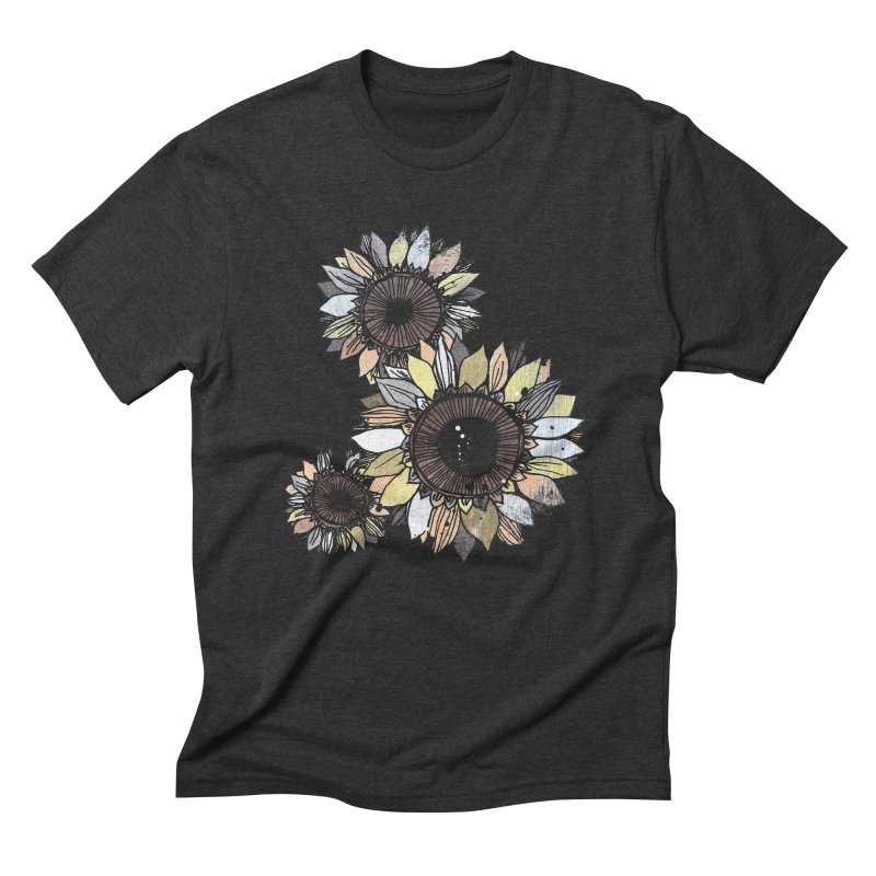 Sunflowers (Black) Men's Triblend T-Shirt by ilustramar's Artist Shop