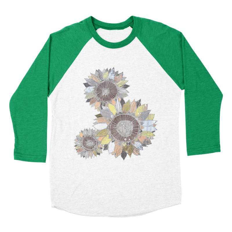 Sunflowers (Black) Women's Baseball Triblend Longsleeve T-Shirt by ilustramar's Artist Shop
