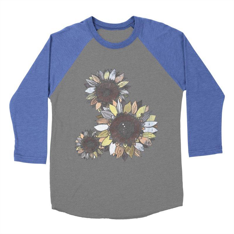 Sunflowers (Black) Women's Baseball Triblend Longsleeve T-Shirt by ilustramar's Artist Shop