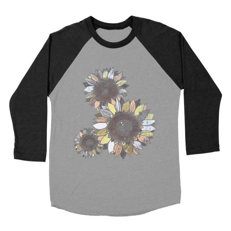 Sunflowers (Black) Men's Baseball Triblend Longsleeve T-Shirt by ilustramar's Artist Shop