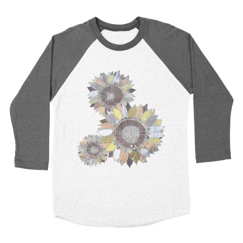 Sunflowers (Black) Men's Baseball Triblend Longsleeve T-Shirt by ilustramar's Artist Shop