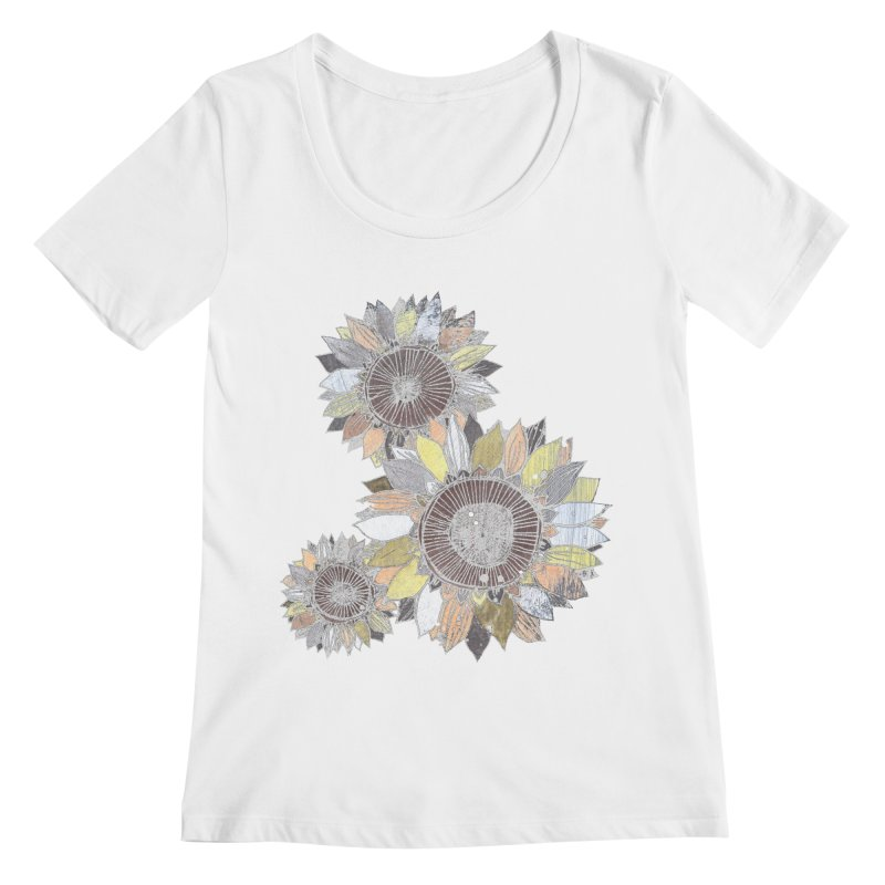 Sunflowers (Black) Women's Regular Scoop Neck by ilustramar's Artist Shop