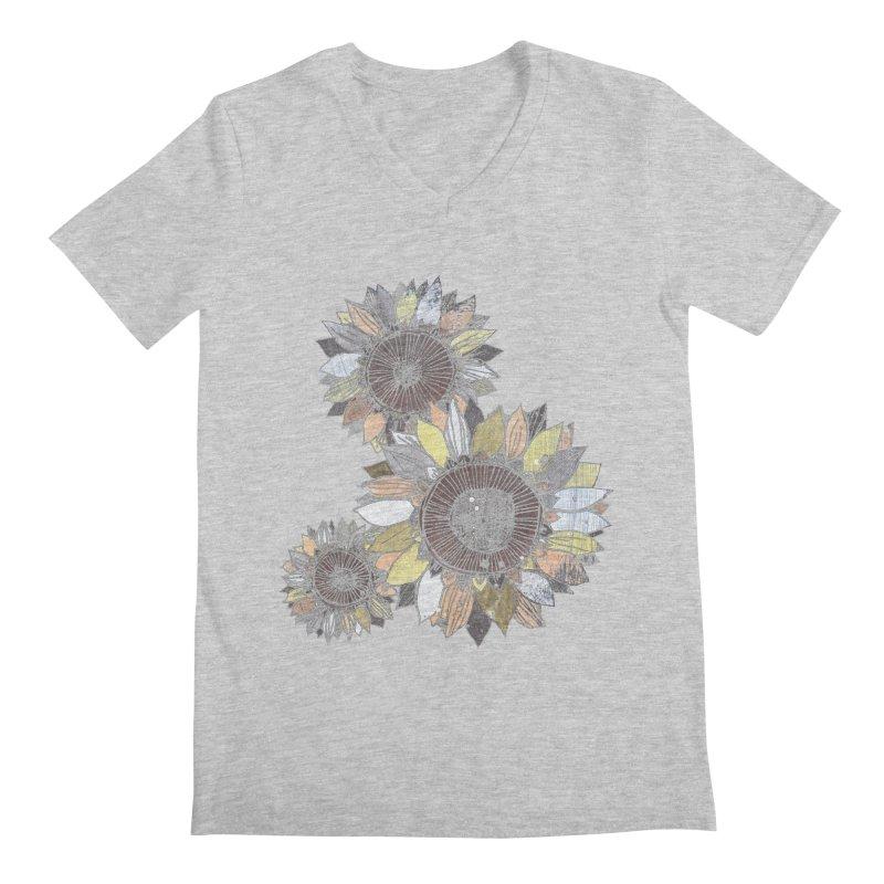Sunflowers (Black) Men's Regular V-Neck by ilustramar's Artist Shop