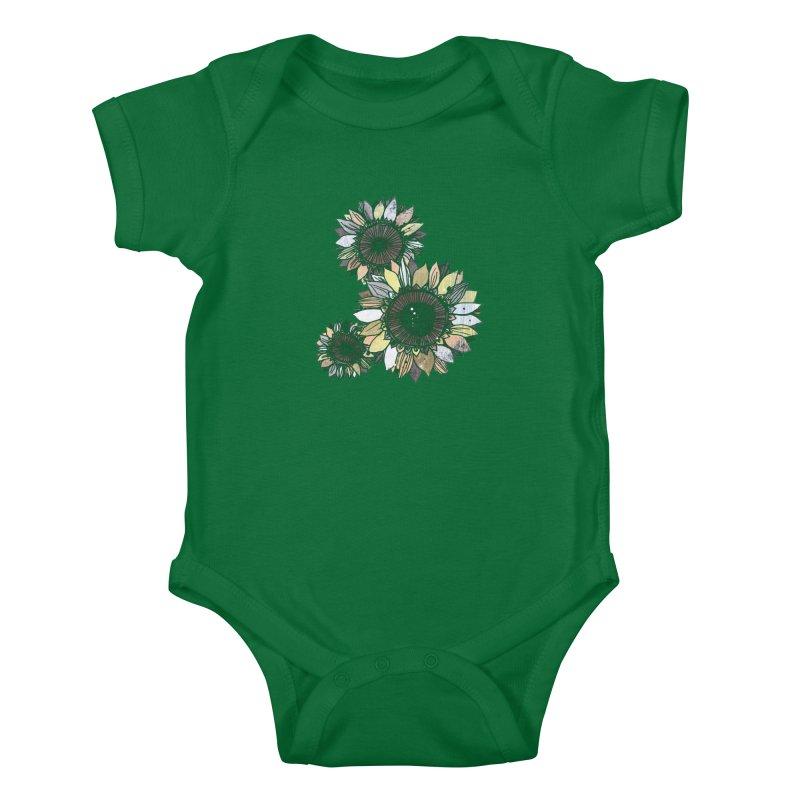 Sunflowers (Black) Kids Baby Bodysuit by ilustramar's Artist Shop