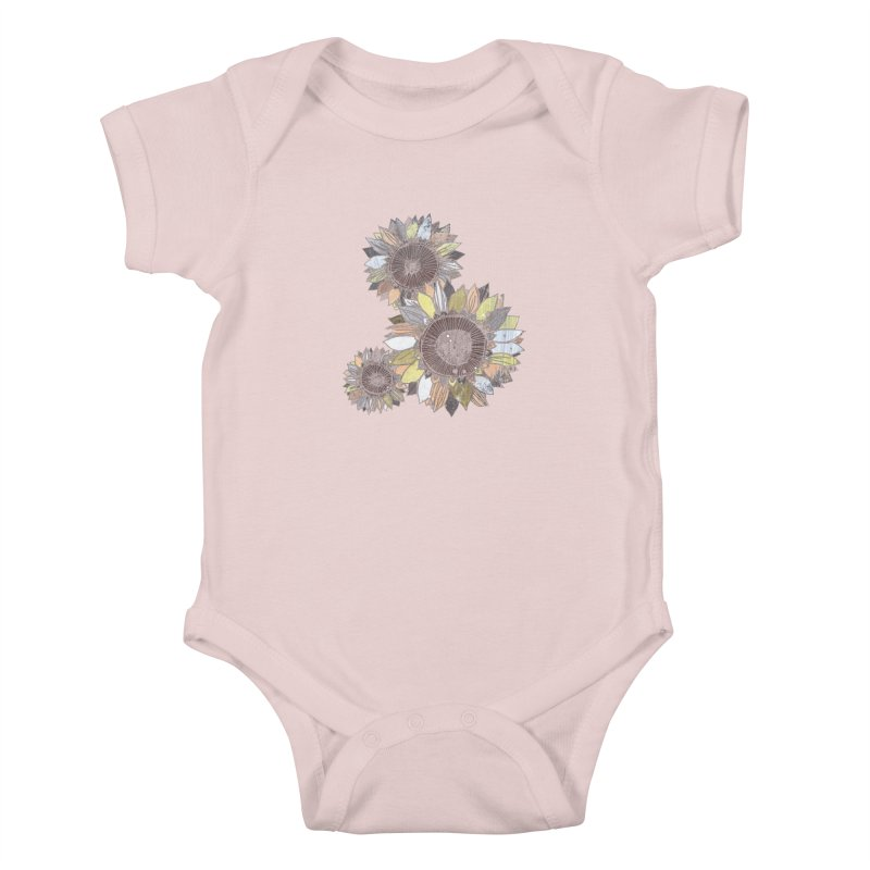 Sunflowers (Black) Kids Baby Bodysuit by ilustramar's Artist Shop